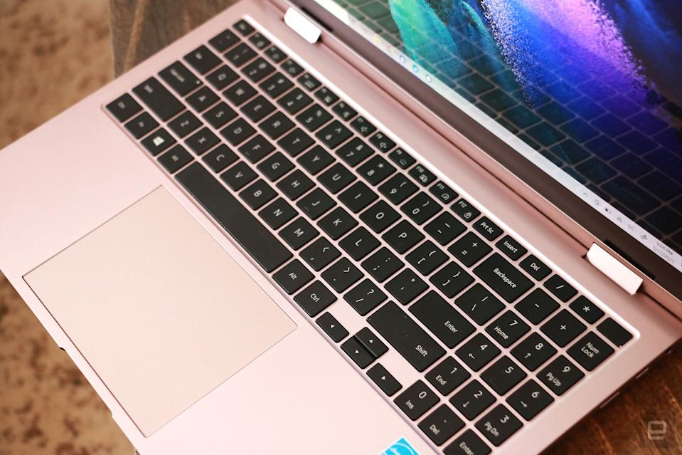 <p>Samsung Galaxy Book Pro 360 review pictures. Top off-angle view of the Book Pro 360's keyboard.</p>
