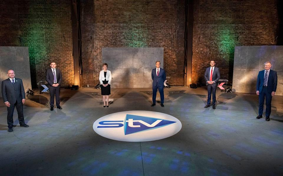 The five leaders of Scotland's main political parties Patrick Harvie (co-leader of the Scottish Green Party), Willie Rennie (Scottish LibDems), Douglas Ross (Scottish Tories), Anas Sarwar (Scottish Labour) and Nicola Sturgeon (Scottish National Party) -  STV / Kirsty Anderson