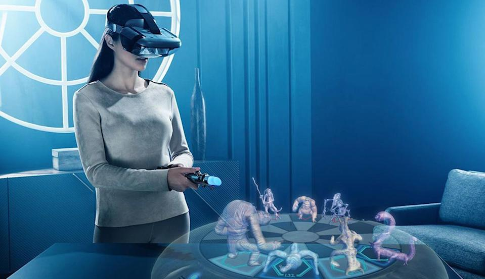 """<p>Strap on the smartphone-powered headset, pick up the lightsaber-shaped controller, and be fully immersed in that galaxy far, far away. The stunning AR games include lightsaber combat, holochess (you don't have to let the Wookiee win), and strategic battle. This is the closest thing yet to becoming a real-life Jedi Master.<br><br><strong>Buy: <a href=""""https://www.bestbuy.com/site/lenovo-star-wars-jedi-challenges-ar-headset-with-lightsaber-controller-and-tracking-beacon-black/6010802.p?skuId=6010802"""" rel=""""nofollow noopener"""" target=""""_blank"""" data-ylk=""""slk:Best Buy"""" class=""""link rapid-noclick-resp"""">Best Buy</a></strong> </p>"""