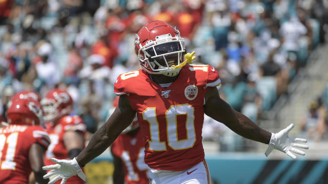 Chiefs wide receiver Tyreek Hill may play for the first time since Week 1. (AP Photo/Phelan M. Ebenhack)
