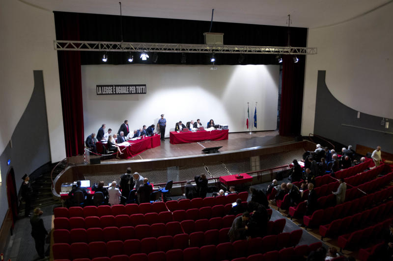 The Teatro Moderno theater is converted into a court room to accommodate all the survivors and relatives of the victims of the 2012 shipwreck during the trial of Captain Francesco Schettino, in Grosseto, Italy, Tuesday, Sept. 24, 2013. The captain of the wrecked Costa Concordia is charged with manslaughter, causing the shipwreck and abandoning ship before the luxury cruise liner's 4,200 passengers and crew could be evacuated on Jan. 13, 2012 when the ship collided with a reef off the Tuscan island of Giglio, killing 32 people. (AP Photo/Andrew Medichini)