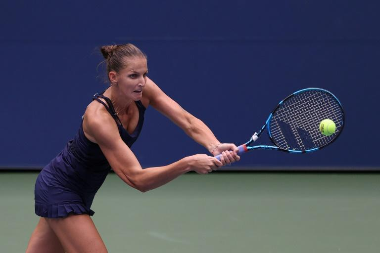 Karolina Pliskova of the Czech Republic returns a shot during her Women's Singles first round match against Anhelina Kalinina of the Ukraine on Day One of the 2020 US Open at the USTA Billie Jean King National Tennis Center on August 31, 2020