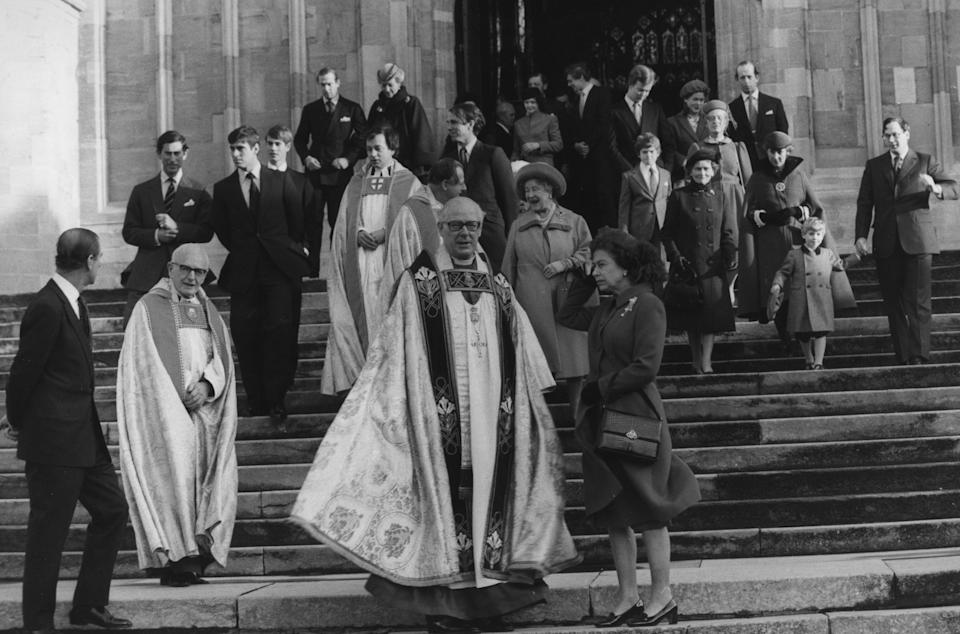 Queen Elizabeth II and other members of the Royal Family leave St George's Chapel in Windsor after attending morning service on Christmas Day in 1978. (PA Images)