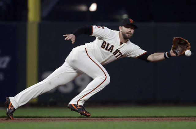 San Francisco Giants third baseman Evan Longoria fields a ground-out by San Diego Padres' Hunter Renfroe during the fourth inning of a baseball game in San Francisco, Monday, April 8, 2019. (AP Photo/Jeff Chiu)