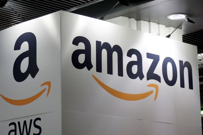 FILE PHOTO: The Amazon logo is seen at the Young Entrepreneurs fair in Paris