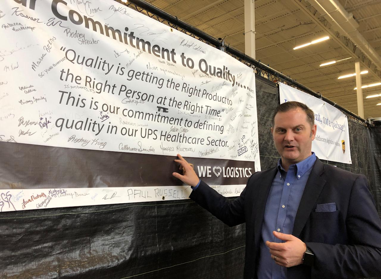 Chris Cassidy, who leads United Parcel Service's (UPS) global healthcare logistics strategy, is seen at the package delivery firm's Worldport sorting facility in Louisville, Kentucky, U.S., February 5, 2019.  Picture taken February 5, 2019. REUTERS/Lisa Baertlein