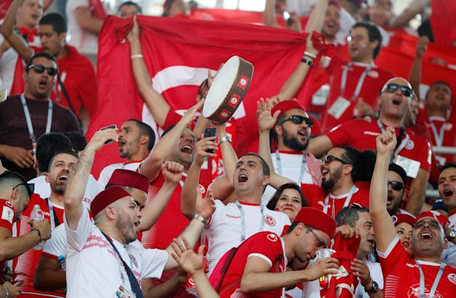 Soccer Football - World Cup - Group G - Belgium vs Tunisia - Spartak Stadium, Moscow, Russia - June 23, 2018 Tunisia fans inside the stadium before the match REUTERS/Grigory Dukor