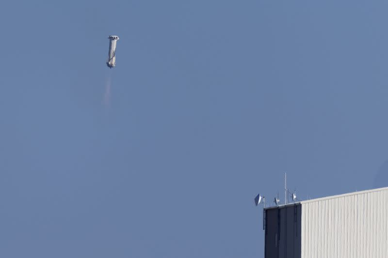 Blue Origin's rocket New Shepard returns to earth after carrying Star Trek actor William Shatner to Space