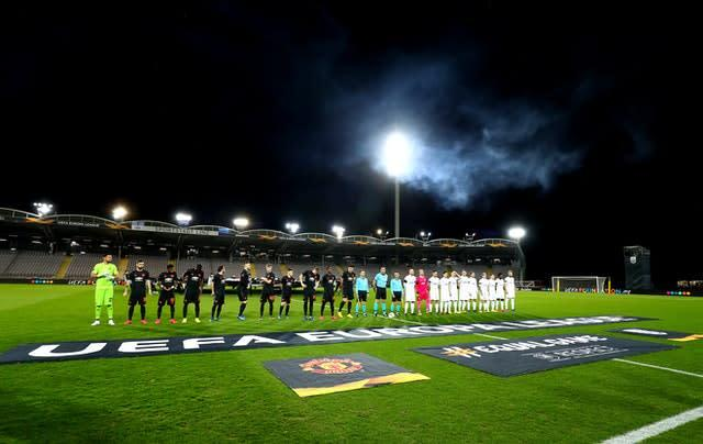 Manchester United played in an empty stadium at LASK in the Europa League before the Covid-19 suspension (Bradley Collyer/PA)