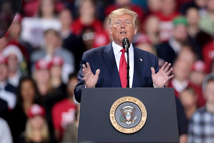 President Donald Trump speaks at a Merry Christmas Rally at the Kellogg Arena on December 18, 2019 in Battle Creek, Michigan.