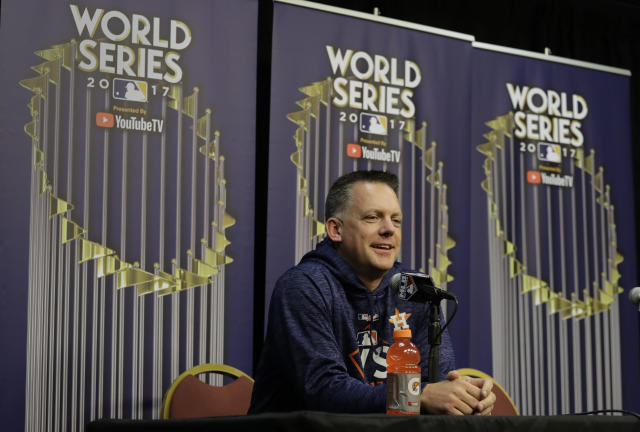 "Houston Astros manager A.J. Hinch talks to the media during a World Series baseball news conference, Thursday, Oct. 26, 2017, in Houston, Texas. McCullers is set to start Game 3 against the <a class=""link rapid-noclick-resp"" href=""/mlb/teams/laa/"" data-ylk=""slk:Los Angeles Angels"">Los Angeles Angels</a>, Friday. (AP Photo/Eric Gay)"
