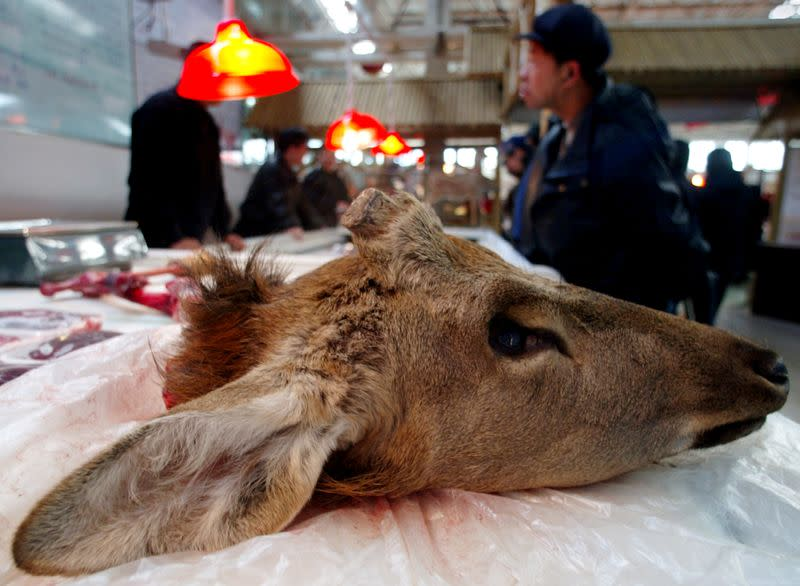 FILE PHOTO: Head of a deer is displayed at a newly opened market in Beijing which specialises in selling exotic animal meat, China