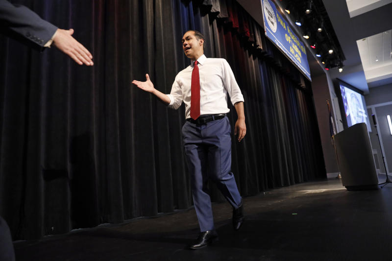 Democratic presidential candidate former U.S. Secretary of Housing and Urban Development Julian Castro walks off stage after speaking at the Iowa Federation of Labor convention, Wednesday, Aug. 21, 2019, in Altoona, Iowa. (AP Photo/Charlie Neibergall)