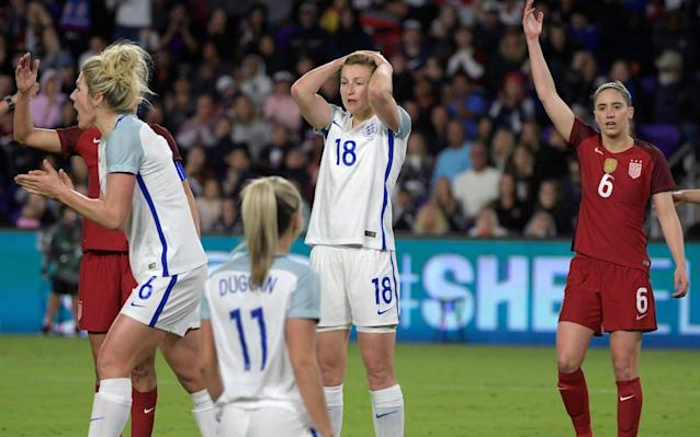 "Phil Neville had urged his players to reach for the moon in order to win the SheBelieves Cup, but England were instead sent crashing back to earth by women football's ultimate superpower, the USA. England aimed for the stars and missed and while there is no shame in that, there was a familiar sinking feeling. The Lionesses have once again hinted at what they can go on to achieve, but nothing more. England are a good team, but they are still one struggling to prove they can win when the pressure is on, in the pivotal games, in a knockout environment. The USA have been setting standards in the women's game for a generation and although England have closed the gap considerably, they still give the impression they are a side that is going to find it hard to make the final leap across. There were reasons to be encouraged. England thrashed France in their first game and more than held Germany to a draw in New York, but they could not win their cup final. England head coach Phil Neville calls out instructions during the second half of the game Credit: AP Neville insisted England had to approach this game in the same way they would a World Cup Final, so to lose it, less than 16 months ahead of the next global tournament, is a concern. It leaves a very important box unticked. Then again, while a victory would have been nice against the No 1-ranked side and a trophy would have been rightly celebrated, especially given their previously poor record in this competition, it would have meant nothing if England flopped in France. Everything is building towards that tournament. Neville will be judged on the fact he told the FA he was the person who could transform the Lionesses from a losing semi-final team into a final winning one. This was a reminder just how hard that is going to be. ""I think this shows how far we still have to go until we can call ourselves the best team in the world,"" said Neville. ""We've got to be realistic. I was really pleased with the last 30 minutes because when they scored they were threatening to run riot, it was though all the fear left us and we might have snatched an equaliser late on. USA celebrate their victory Credit: AP ""But I don't think that would have been a fair result, I think this was a bit of a reality check for us, but it's just the start of the journey."" England have already become a different team under Neville. They intend to play on the front foot, even against the strongest rivals. It is a team in pursuit of style as well substance, which should be respected rather than queried at this stage. The USA may well have triumphed, but the margins were small. America rushed England's players in possession, forcing mistakes and errors. England could not dictate the pace of the game; in fact, for long periods, they could not get on the ball at all. The Americans were better. England needed to hang in there, stay in the game, not lose it before half-time, but, in the end, USA were too good, forcing a string of mistakes that led to the only goal of the game, a cross from Megan Rapinoe that was sliced by both Abby McManus and Millie Bright before ending up in the England net, via the boot of goalkeeper Karen Bardsley. England needed more quality going forward, to show a bit of calm on the ball and some imagination, as well as precision, with their passing. Nikita Parris (right) goes in hard Credit: GETTY IMAGES But when they threatened the US goal, via Ellen White at the far post, it drew a stinging response from the home team. Bardsley just about tipped away a low effort from Rapinoe, before Mallory Pugh weaved her way inside from the left and hit a shot that clipped the outside of the post. The US remained on top after the break, Tierna Davidson heading wide at a corner, before Pugh was sent in on goal, only for her shot to be well saved by Bardsley. England were rattled. Neville made changes, Toni Duggan and Nikita Parris replacing Mel Lawley and the ineffectual Jodie Taylor in a bid to spark something that might worry USA. Instead, a terrible mistake by Bronze, losing the ball on the edge of her own area, almost let in Rapinoe, but Bardsley made a strong save to spare her captain's blushes. It was merely delaying the inevitable and USA finally took the lead when Bright stabbed the ball into her own net. It was the Chelsea defender's second own goal in as many games, but this time she has to take the blame. Pressure, though, forces mistakes. England were being out-played, although White almost got on the end of a dangerous cross, appearing to misjudge the timing of her jump. England came even closer in the dying stages, White heading the ball against the post with Jill Scott just beaten to the rebound by Pugh, who did well to avoid doing the same as Bright. England (4-2-1-3): Bardsley (Man City); Bronze (Lyon), McManus (Man City), Bright (Chelsea), Stokes (Man City) (Blundell 87); Walsh (Man City) Scott (87) Christiansen (Man City), Kirby (Chelsea); Lawley (Man City) (Duggan 52), Taylor (Seattle Reign) (Parris 52), White (Birmingham City)."