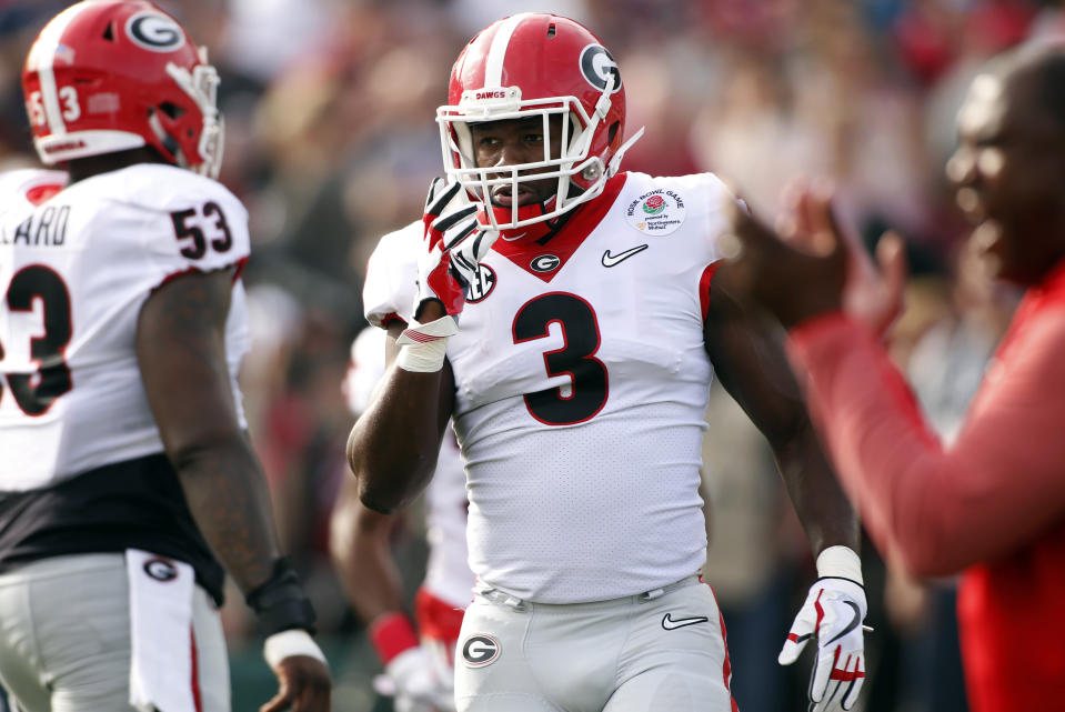 Georgia linebacker Roquan Smith was taken by the Bears with the eighth overall pick of the NFL draft. (AP)