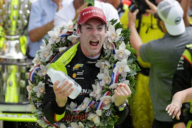 Simon Pagenaud celebrates after winning the Indianapolis 500. (AP Photo/Darron Cummings)