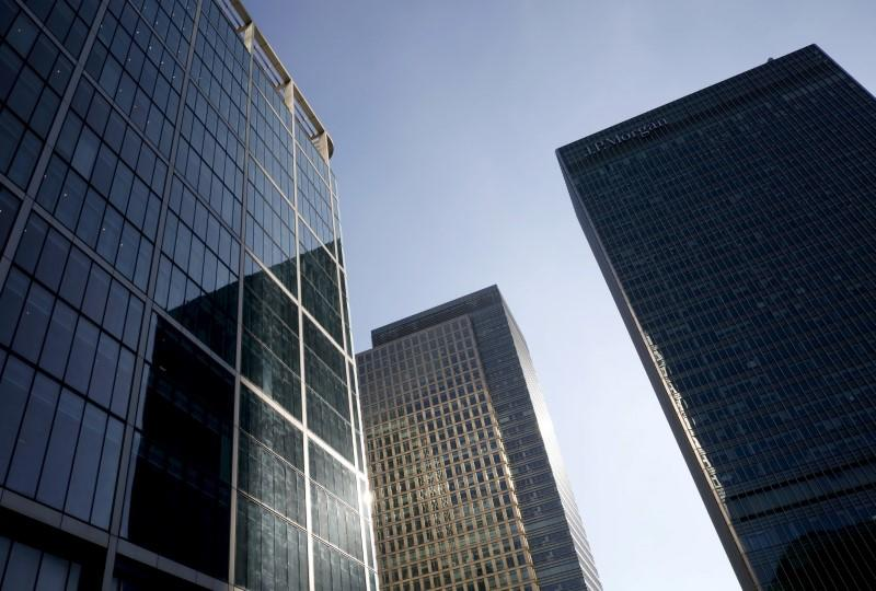 Skyscrapers are seen at Canary Wharf financial district in London