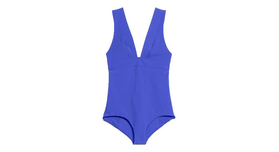 """<p><a href=""""http://www.stories.com/gb/Swimwear/All_Swimwear/V-Neck_Swimsuit/108412542-0274769006.2"""" rel=""""nofollow noopener"""" target=""""_blank"""" data-ylk=""""slk:& Other Stories, £45"""" class=""""link rapid-noclick-resp"""">& Other Stories, £45</a> </p>"""