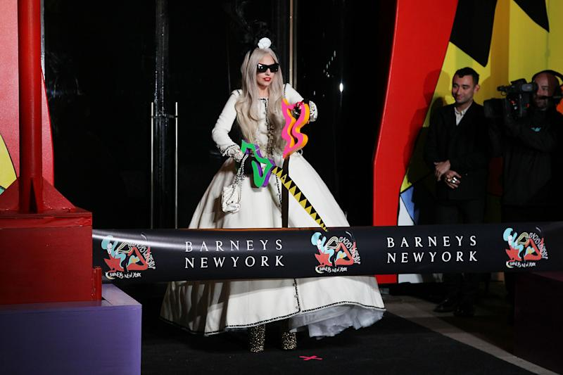 Singer Lady Gaga appears at a ribbon cutting ceremony to launch Gaga's Workshop, a holiday retail experience representing Lady Gaga`s reinterpretation of Santa's workshop at Barneys department store in New York, Monday, Nov. 21, 2011.  A portion of the sales from Gaga's Workshop will be donated to the Born This Way Foundation. (AP Photo/StarPix, Amanda Schwab)