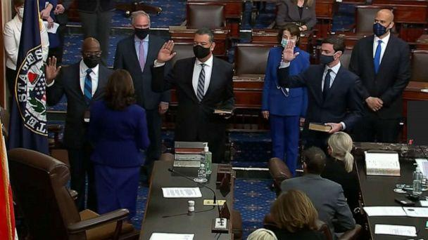 PHOTO: Vice-President Kamala Harris administers the oath of office to Sen. Alex Padilla, Sen. Raphael Warnock, and Sen. Jon Ossoff on the floor of the Senate, Jan. 20, 2021. (ABC News)
