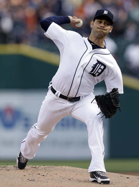 Detroit Tigers pitcher Anibal Sanchez throws against the Atlanta Braves in the first inning of a baseball game in Detroit, Friday, April 26, 2013. (AP Photo/Paul Sancya)