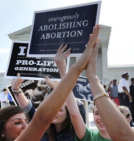 Anti-abortion demonstrators high five as the ruling for Hobby Lobby was announced outside the U.S. Supreme Court in Washington June 30, 2014. REUTERS/Jonathan Ernst
