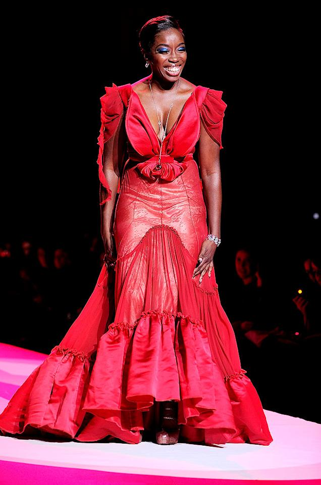 """Estelle rocked a ruffled Zac Posen design. """"I like really tall high heels,"""" the singer told <i>InStyle</i>. """"I'm like, 'The bigger, the better!' """" Jemal Countess/<a href=""""http://www.gettyimages.com/"""" target=""""new"""">GettyImages.com</a> - February 11, 2010"""