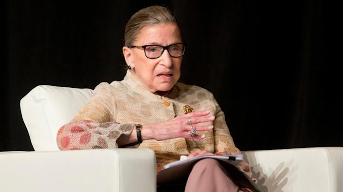 "Justice Ruth Bader Ginsburg, who died Friday at age 87. <span class=""copyright"">(Mike Groll / Associated Press)</span>"