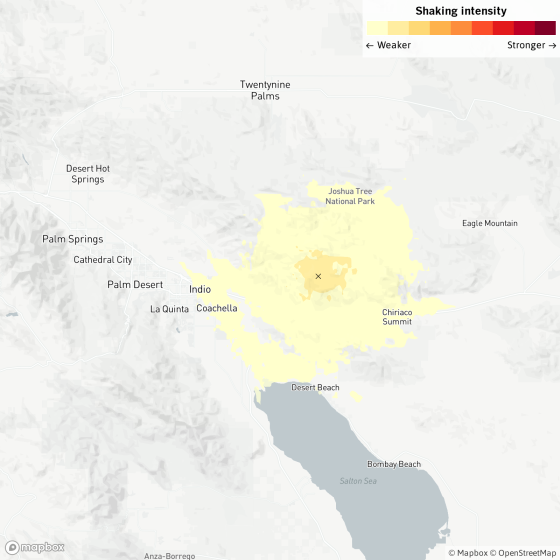 A magnitude 3.6 earthquake was reported Friday afternoon at 12:25 p.m. Pacific time nine miles from Coachella, Calif., according to the U.S. Geological Survey.