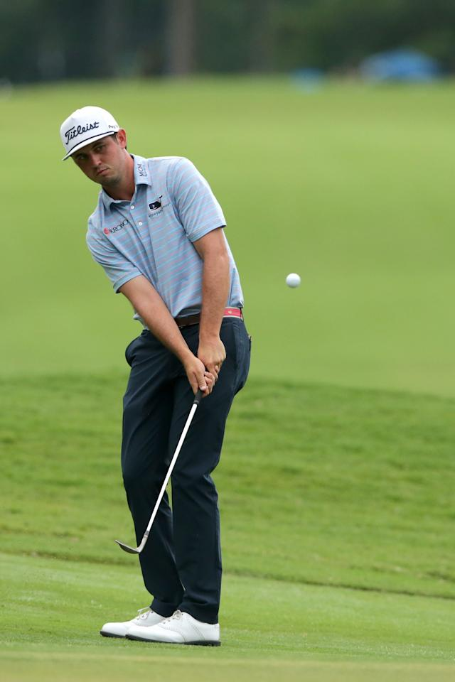 "<p>A relative unknown on the PGA Tour, J.T. Poston won his first career tour title at the Wyndham Championship thanks largely to playing the entire tournament bogey-free (a first for a tour winner since 1974). Vineyard Vines sponsors the 26-year-old North Carolina native, whose look in at Sedgefield Country Club was polished yet full of character, an overall theme for the brand. Poston wore a light blue golf shirt with coral micro-stripes that matched perfectly with his taco-logoed belt. (Yes, we said taco-logoed belt.) The taco icons added a ton of personality to the quiet outfit, a great move to keep his look young and fun. Poston rounded out the ensemble with a throwback-inspired rope cap that added more refined style to his look. Shop J.T. Poston's looks now:</p> <p><strong>Shirt:</strong> For a similar look, <a href=""https://www.vineyardvines.com/mens-polos/kennedy-stripe-polo/1K1083.html?dwvar_1K1083_color=996&cgid=golf-clothing#start=14&cgid=golf-clothing"" rel=""nofollow"">Vineyard Vines Kennedy Stripe Sankaty Performance Polo 