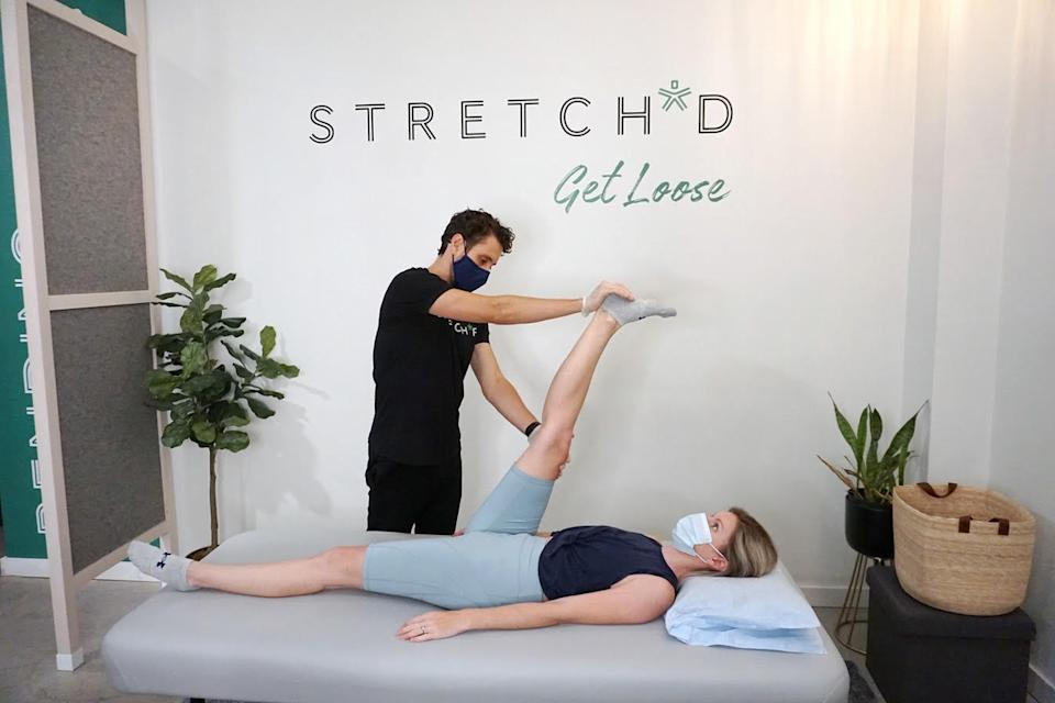 "<h2>Stretch*d <br></h2><br><strong>The Deal: </strong>Their family pack is now $299, saving you $164. It includes a variety of assisted stretching sessions that'll help your muscles and posture, plus a retail gift card. <br><br><strong>Why We Love It:</strong> <a href=""http://www.stretchdspace.com/"" rel=""nofollow noopener"" target=""_blank"" data-ylk=""slk:Stretch*d"" class=""link rapid-noclick-resp"">Stretch*d</a> (which is currently open for bookings) is a solution to post-workout soreness, and will also help you fight that crick in your neck they've had since quarantine began."