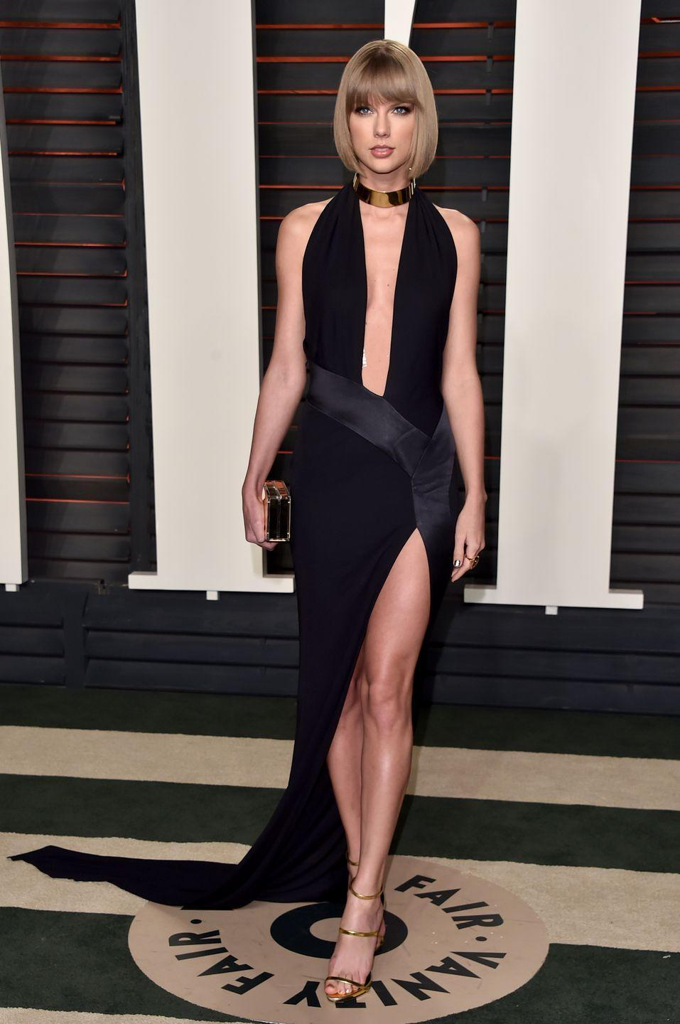 <p>Taylor Swift gave the LBD a little length on the back for a dramatic entrance to the <em>Vanity Fair </em>Oscars after-party.  </p>