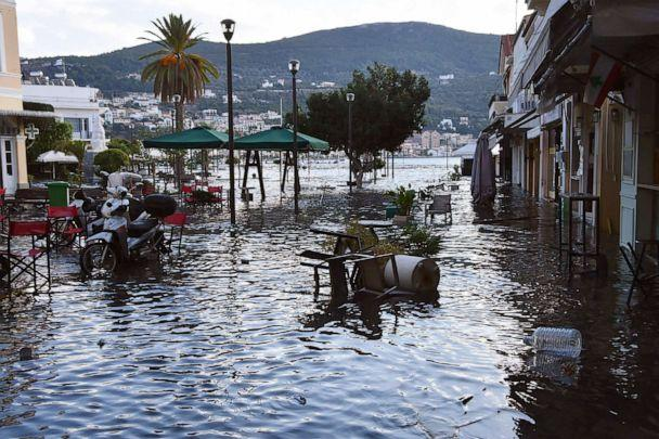 PHOTO: Seawater floods a square after an earthquake at the port of Vathi on the eastern Aegean island of Samos, Greece, Oct. 30, 2020.  (Michael Svarnias/AP)