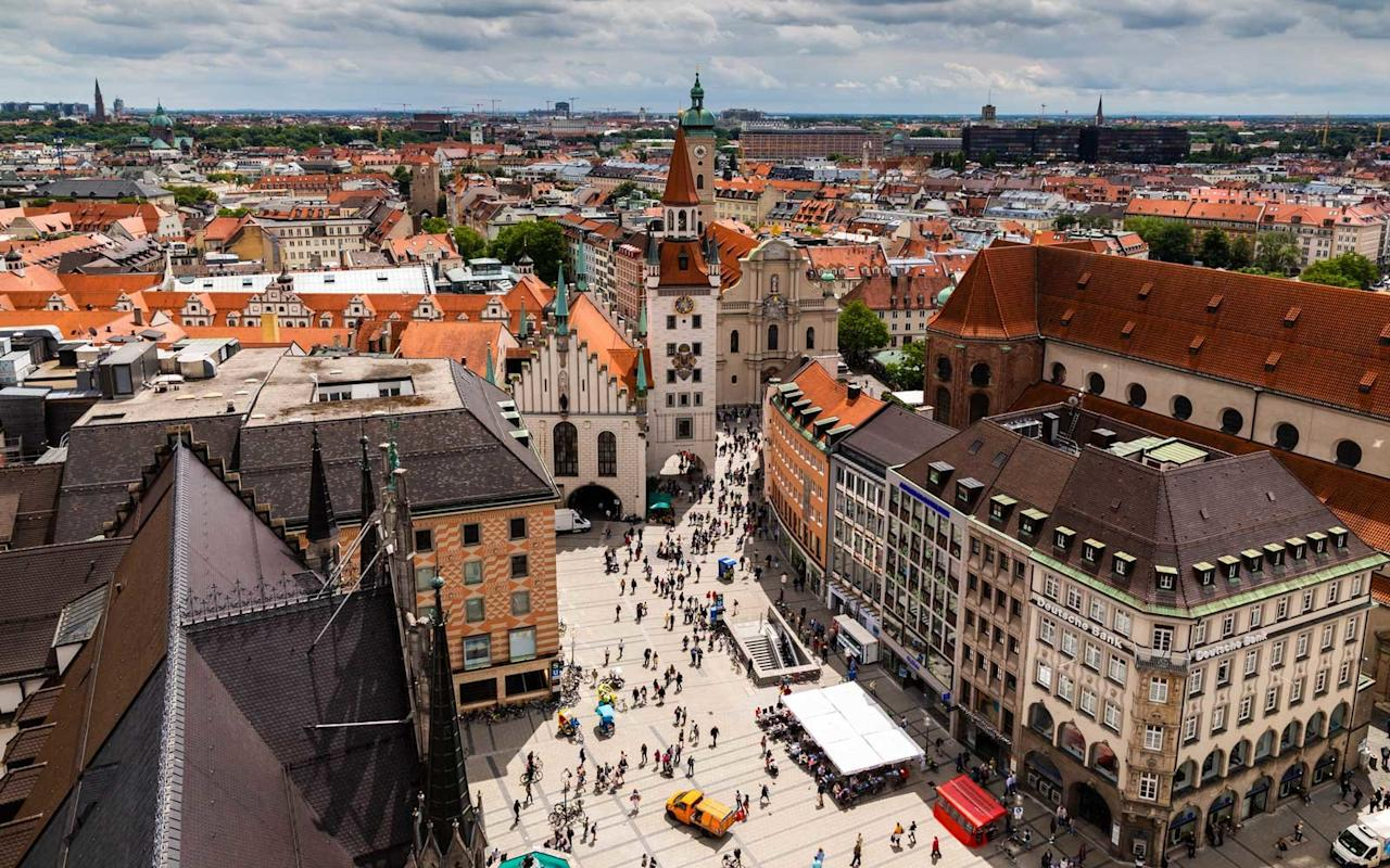 """<p>Munich, capital of Bavaria, is a city with a few surprises. First, its famed Oktoberfest actually begins in September, this year from Sept. 22–Oct. 7. Millions of visitors don their <em>lederhosen</em> or <em>dirndls</em> and head for tents in the city's center, grab a beer stein, and celebrate the largest beer festival in the world. Second, there's surfing in Munich, although it's recommended only for those who can handle the rough waters of Eisbachelle, near the 900-acre English Garden. Nudity is permitted in a few sections of the English Garden, one of six """"Urban Naked Zones"""" which might be of interest to visitors seeking the perfect tan should a warm September day hit. About an hour outside of Munich, <a href=""""https://www.travelandleisure.com/trip-ideas/neuschwanstein-castle-germany"""" target=""""_blank"""">Neuschwanstein Castle</a> sits majestically on a mountain. Open to visitors, it is said to be the inspiration for Sleeping Beauty's Castle at Disneyland. Another royal palace to explore is the Residenz, Germany's largest palace complex and now a museum displaying treasures of Bavarian royalty dating back to the 14th century. The BMW museum, near the corporate headquarters, documents over 100 years of the company's history with automobiles, motorcycles, and engines featured in its permanent exhibitions.</p>"""