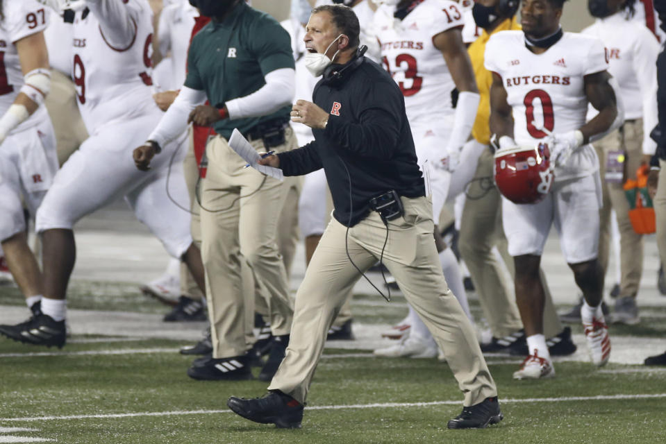 Rutgers coach Greg Schiano shouts to his team during the second half of an NCAA college football game againt Ohio State on Saturday, Nov. 7, 2020, in Columbus, Ohio. Ohio State won 49-27. (AP Photo/Jay LaPrete)