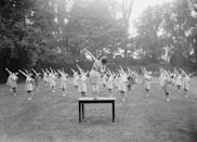 "<p>Taken in September 1936, this photo shows a fitness instructor teaching a class of female teachers in a ""keep fit"" class at Loughborough College. Note the dresses! <br></p>"