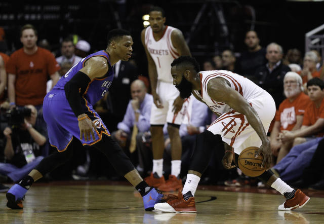 Russell Westbrook and James Harden could be back-to-back league MVPs. (Getty)