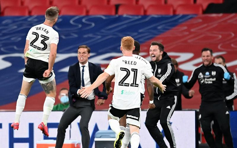 Joe Bryan of Fulham celebrates after scoring his sides first goal during the Sky Bet Championship Play Off Final match between Brentford and Fulham at Wembley Stadium on August 04, 2020 in London, England. - GETTY IMAGES