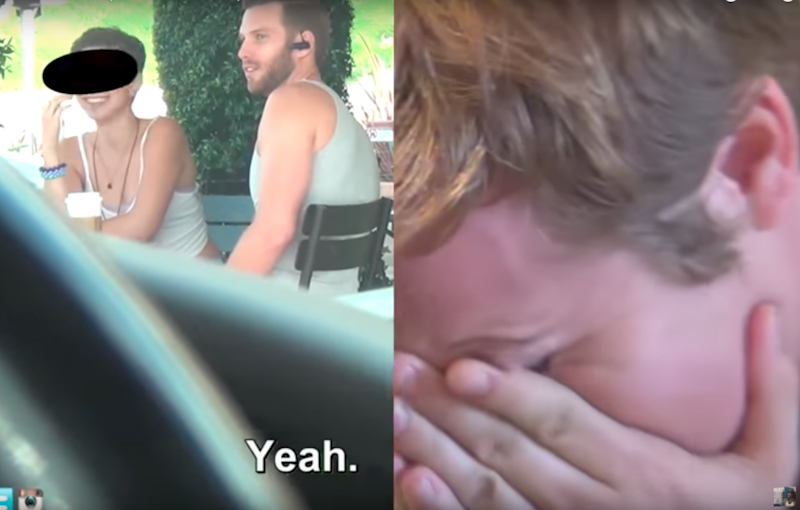When his girlfriend starts flirting he can't hold back the tears. Photo: Youtube