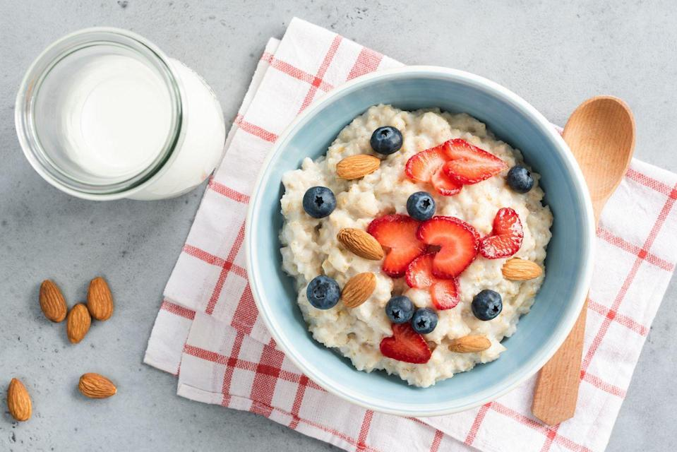 """<p>Oats are an easy, delicious source of whole grains, which may boast serious cancer-fighting abilities. People who get three servings of whole grains daily have a 15% lower cancer risk overall compared to those who get less, concluded <a href=""""http://circ.ahajournals.org/content/133/24/2370.abstract"""" rel=""""nofollow noopener"""" target=""""_blank"""" data-ylk=""""slk:one major study"""" class=""""link rapid-noclick-resp"""">one major study</a>. The benefits are even more impressive when it comes to colorectal cancer in particular: Three daily servings of whole grains could slash your risk by as much as 17%, the <a href=""""https://www.aicr.org/cancer-prevention/food-facts/whole-grains/"""" rel=""""nofollow noopener"""" target=""""_blank"""" data-ylk=""""slk:AICR"""" class=""""link rapid-noclick-resp"""">AICR </a>notes.</p><p><strong>Try it:</strong> <a href=""""https://www.prevention.com/food-nutrition/recipes/g25253175/overnight-oats-recipes/?slide=1"""" rel=""""nofollow noopener"""" target=""""_blank"""" data-ylk=""""slk:Peanut Butter and Jelly Overnight Oats"""" class=""""link rapid-noclick-resp"""">Peanut Butter and Jelly Overnight Oats</a></p>"""