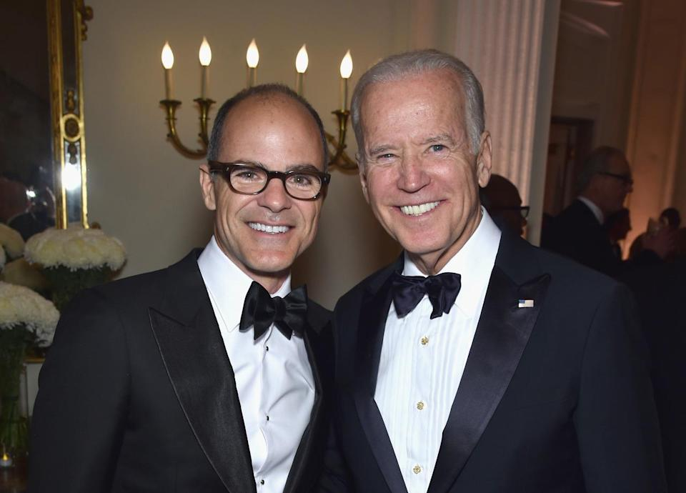 <p>Actor Michael Kelly and Vice President Joe Biden attend the Bloomberg & Vanity Fair cocktail reception following the White House Correspondents' Dinner, April 30. <i>(Photo: Dimitrios Kambouris/VF16/WireImage)</i></p>