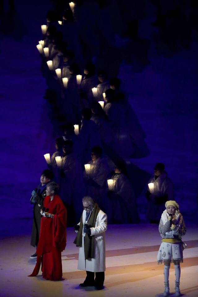 <p>From left; Singers Ha Hyun-woo, Lee Eun-mi, Jeon In-kwon and An Ji-yeong perform during the opening ceremony of the 2018 Winter Olympics in Pyeongchang, South Korea, Friday, Feb. 9, 2018. (Sean Haffey/Pool Photo via AP) </p>