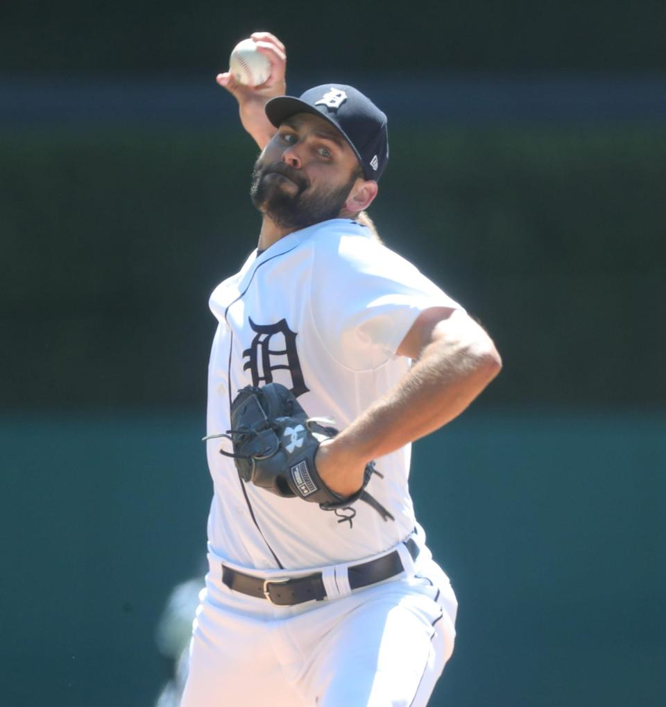 Tigers pitcher Michael Fulmer throws against the Royals on Sunday, April 25, 2021, at Comerica Park.