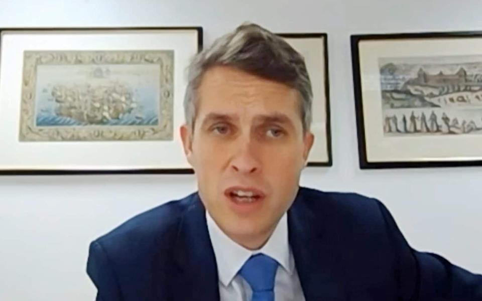 Education Secretary Gavin Williamson appearing by videolink to answer questions from members of the House of Commons Education Committee - PA