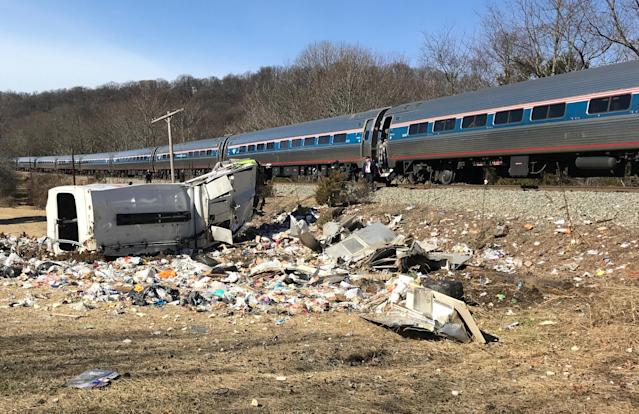 An Amtrak passenger train carrying Republican members of the U.S. Congress from Washington to a retreat in West Virginia is seen after colliding with a garbage truck in Crozet, Va., Jan. 31. (Photo: Justin Ide/Crozet Volunteer Fire Department/Handout via Reuters)