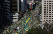 President Bolsonaro supporters march in support of his attacks on the country's Supreme Court, in Sao Paulo