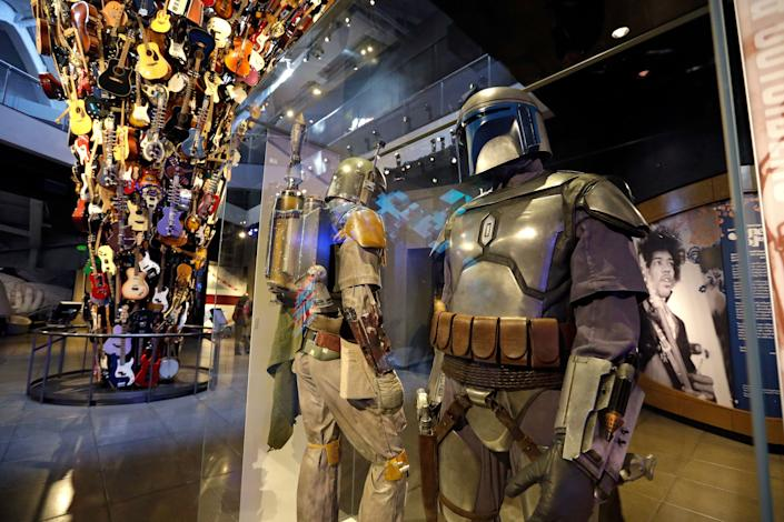 Boba Fett costumes. (AP Photo/Elaine Thompson)