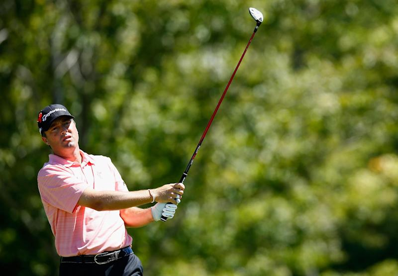 Ryan Palmer tees off on the 17th hole during the second round of the Deutsche Bank Championship on August 30, 2014 in Norton, Massachusetts (AFP Photo/Jared Wickerham)