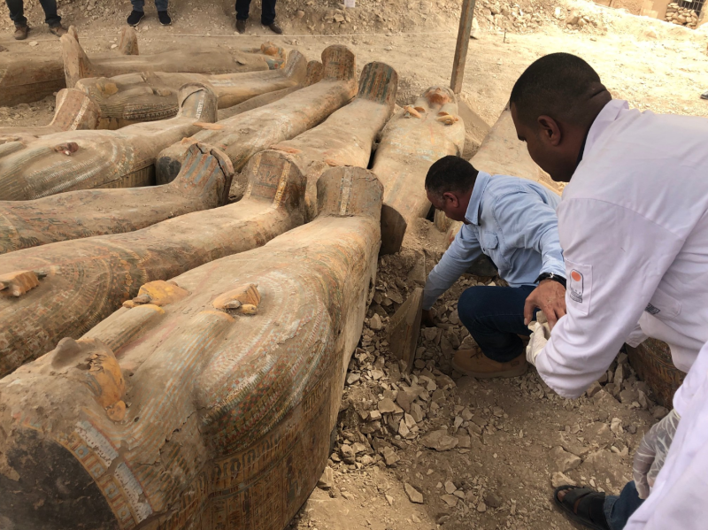 Archaeologists have uncovered at least 20 ancient wooden coffins in the southern Egyptian city of Luxor (Picture: Egypt Antiquities Ministry)