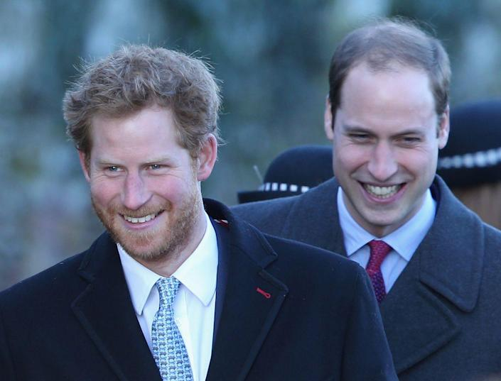 <p>A bearded Harry, 29, smiles with brother William while leaving Christmas Day service at Sandringham. This was one of the first times Harry sported a true beard. </p>